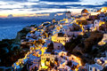 Oia santorini greece cyclades islands thira town after sunset Stock Photo