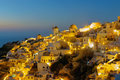 Oia on Santorini island at night Stock Photo