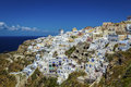 Oia santorini view fro village in island kyklades greece Stock Photos