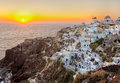 Oia town santorini island greece beautiful village sunset in photographed from a high point of view in hdr Royalty Free Stock Images