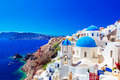 Oia town on Santorini island, Greece. Caldera on Aegean sea. Royalty Free Stock Photo