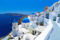 Oia town on Santorini island withe Church Cupolas Royalty Free Stock Photo