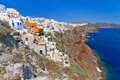 Oia town on volcanic Santorini island Stock Photography