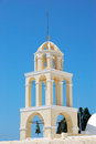 Oia typical bell tower in santorini island greece Stock Photos
