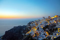 Oia village on santorini island at dawn Royalty Free Stock Images