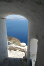 Oia village santorini stone stairs in island greece Royalty Free Stock Photo