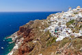 Oia village on Santorini with windmill Royalty Free Stock Photography