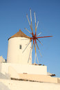 Oia village santorini windmill in in the island of greece Stock Image
