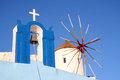 Oia village santorini windmill in in the island of greece Stock Photography