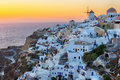 Oia village sunset in santorini island beautiful greece photographed from a high point of view hdr Stock Photos