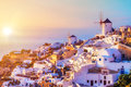 Oia village at sunset, Santorini island Royalty Free Stock Photo