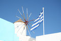Oia village windmill santorini a in island greece Stock Photo