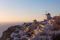 Oia Windmills At Dusk, Santorini Royalty Free Stock Images