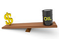 Oil barrel and dollar sing on a scales. Royalty Free Stock Images