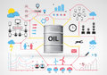 Oil barrel goods with blue red infographic icons and graphs around