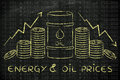 Oil barrel money arrows with text energy oil prices and coins rate and stock exchange background Stock Photo