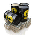 Oil barrel and money in the design of the information related to the sale of Royalty Free Stock Photography
