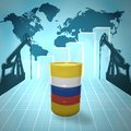 Oil barrel with russian flag on the background of the world map derricks and growth chart Stock Image