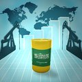 Oil barrel with saudi arabia flag on the background of the world map derricks and growth chart Royalty Free Stock Images