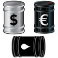 Oil barrels with currency symbols Stock Photo