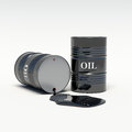 Oil barrels of oil spills background Stock Photography