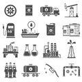 Oil Black White Icons Set Royalty Free Stock Photo