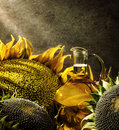 Oil bottle and sunflowers