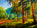 Oil color painting landscape on canvas colorful of trees gaden. Royalty Free Stock Photo