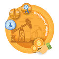 Oil derrick with icon of process of oil production.Vintage retro style finance icon development of oil field on yellow circle back