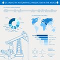 Oil derrick infographic with stages of process production Stock Image