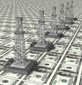 Oil derrick tower dollar power there are some or gas on dollars background Royalty Free Stock Photography