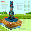 Oil derrick tower or gas rig business infographic