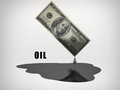 Oil drips us dollar bill Stock Photo