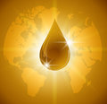 Oil drop on Earth. Icon of drop of oil or honey