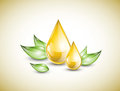 Oil droplets yellow with green leaves Royalty Free Stock Photography