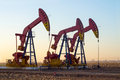 Oil exploration work of pump jack on a field and gas industry Royalty Free Stock Photography