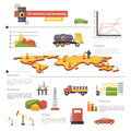 Oil Extraction and Processing Infographics Icons