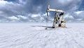 Oil field at  snow Royalty Free Stock Photo