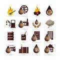 Oil and Fossil Fuel Energy Icons Royalty Free Stock Photo