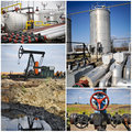 Oil gas industry collage with blue sky Royalty Free Stock Photos