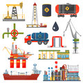 Oil gas industry infographics concept. Gasoline diesel fuel transportation and distribution icons. Royalty Free Stock Photo