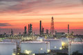 Oil and gas industry - refinery at sunset - factory - petrochemical plant Royalty Free Stock Photo