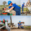 Oil gas operater collage Royalty Free Stock Photo