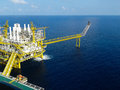 Oil and gas platform with gas burning power energy Stock Photography