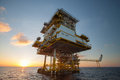 Oil and gas platform in the gulf or the sea offshore oil and rig construction platform for production Royalty Free Stock Image