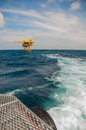Oil and gas platform in the gulf or the sea world energy offshore rig construction Stock Images