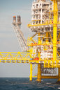 Oil and gas platform in the gulf or sea world energy offshore rig construction Stock Photos