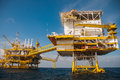 Oil and gas platform in the gulf or sea world energy offshore rig construction Royalty Free Stock Image