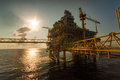 Oil and gas platform in the gulf or the sea world energy offshore rig construction for production Stock Images