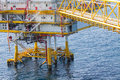 Oil and gas platform in the gulf or the sea world energy offshore rig construction for production Stock Photo